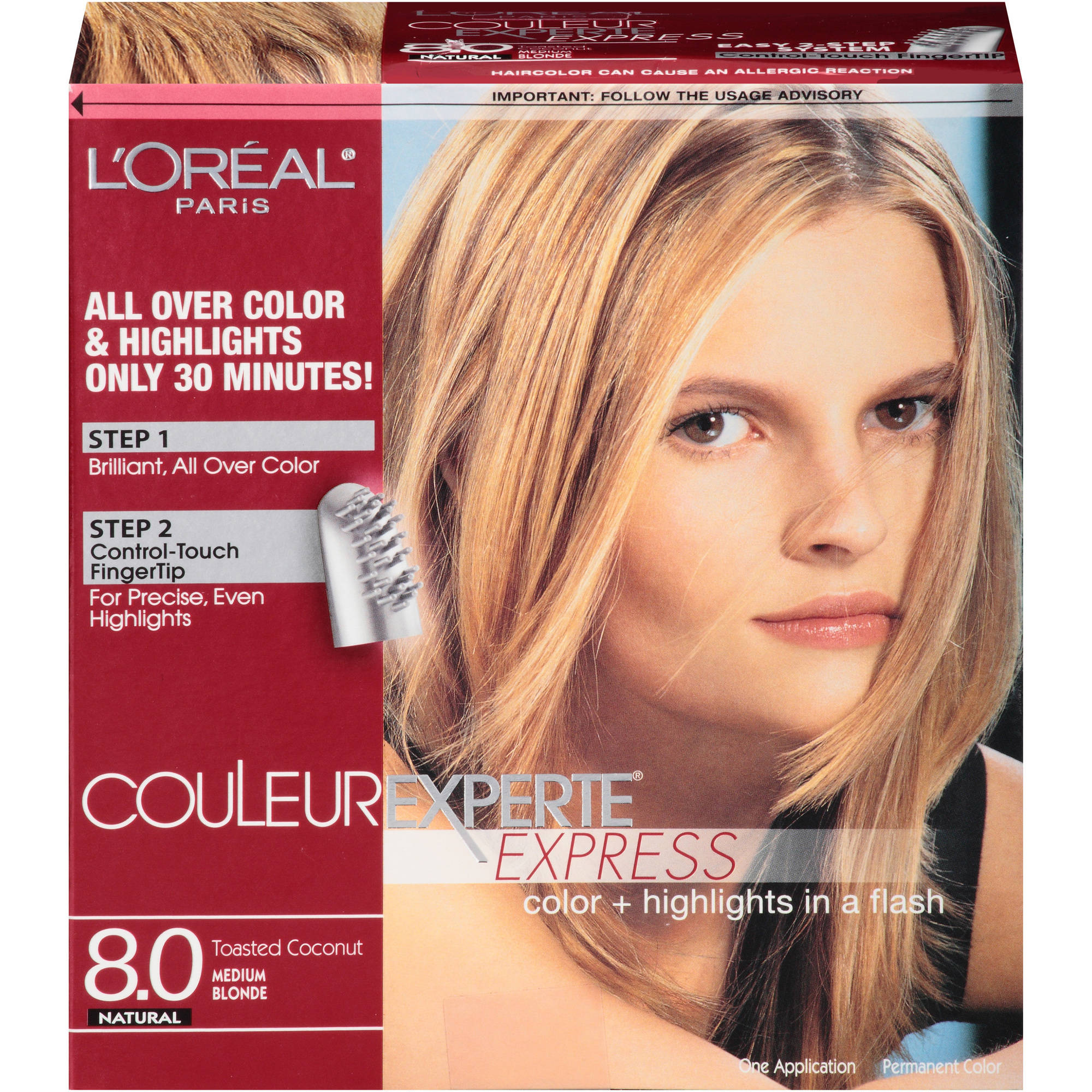 L'Oreal Paris Couleur Experte Express Natural Hair Color Kit, 8.0 Toasted Coconut Medium Blonde