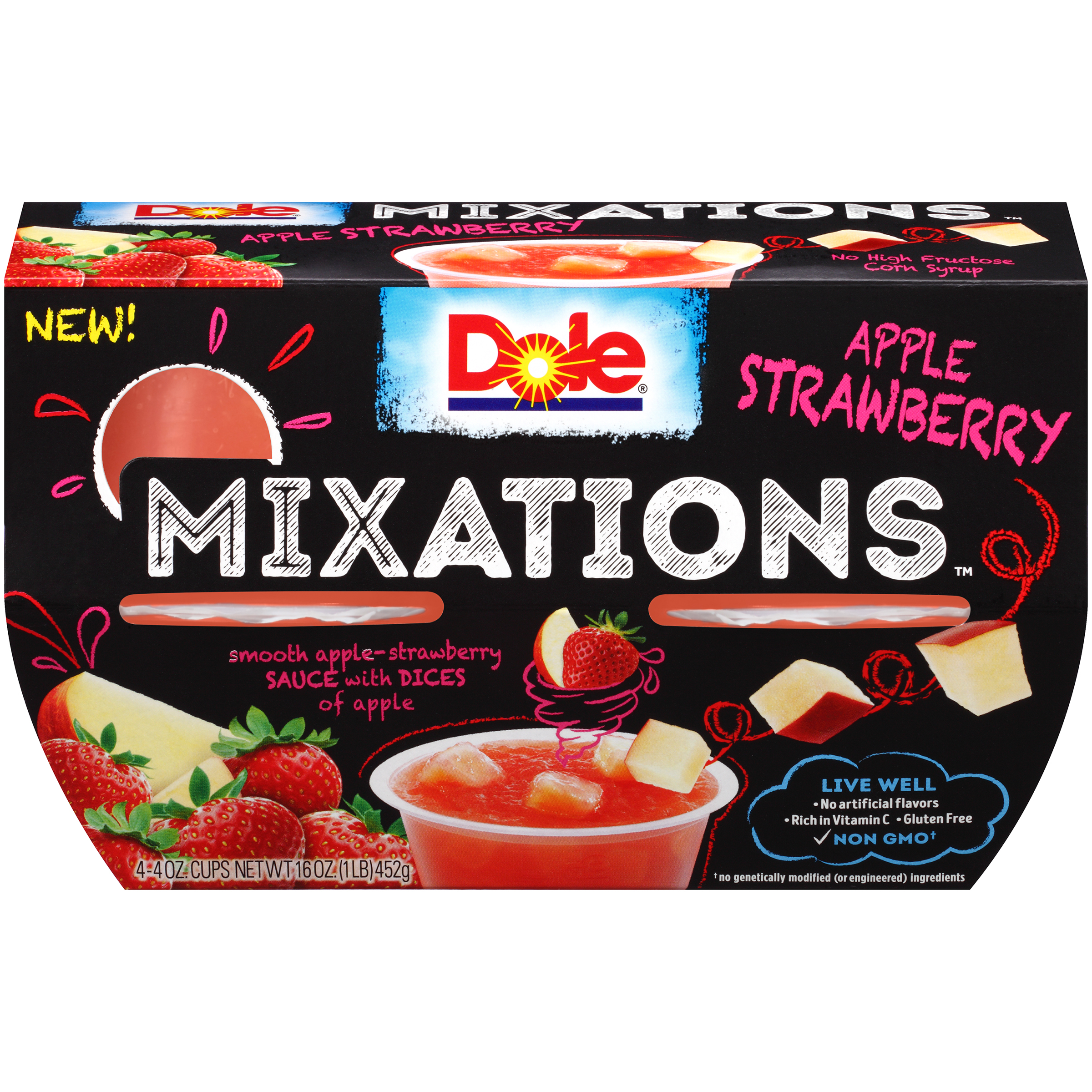 Dole Fruit Bowls, Mixations Apple Strawberry, 4 Ounce (4 Cups)