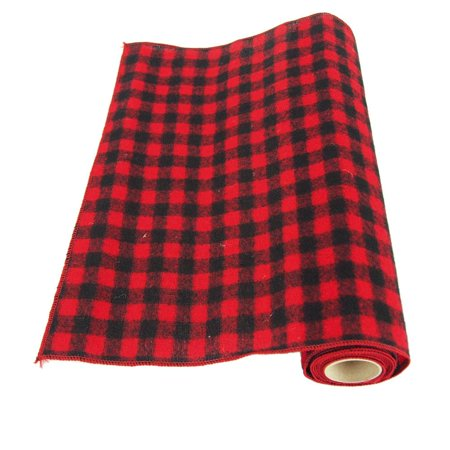 Plaid Checkered Christmas Felt Roll, Red/Black, 14-Inch](Black And White Checkered Flag Fabric)