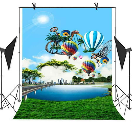 HelloDecor Polyster 5x7ft Cartoon Shooting Backdrop Roller Coaster Hot Air Balloon Ferris Wheel Picture Newborn Children Photo Birthday Party Studio Props Backgroung