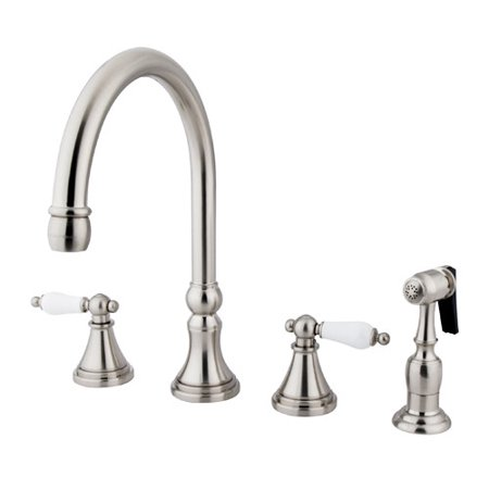 Kingston Brass Governor Double Handle Deck Mount Kitchen Faucet with Side  Spray