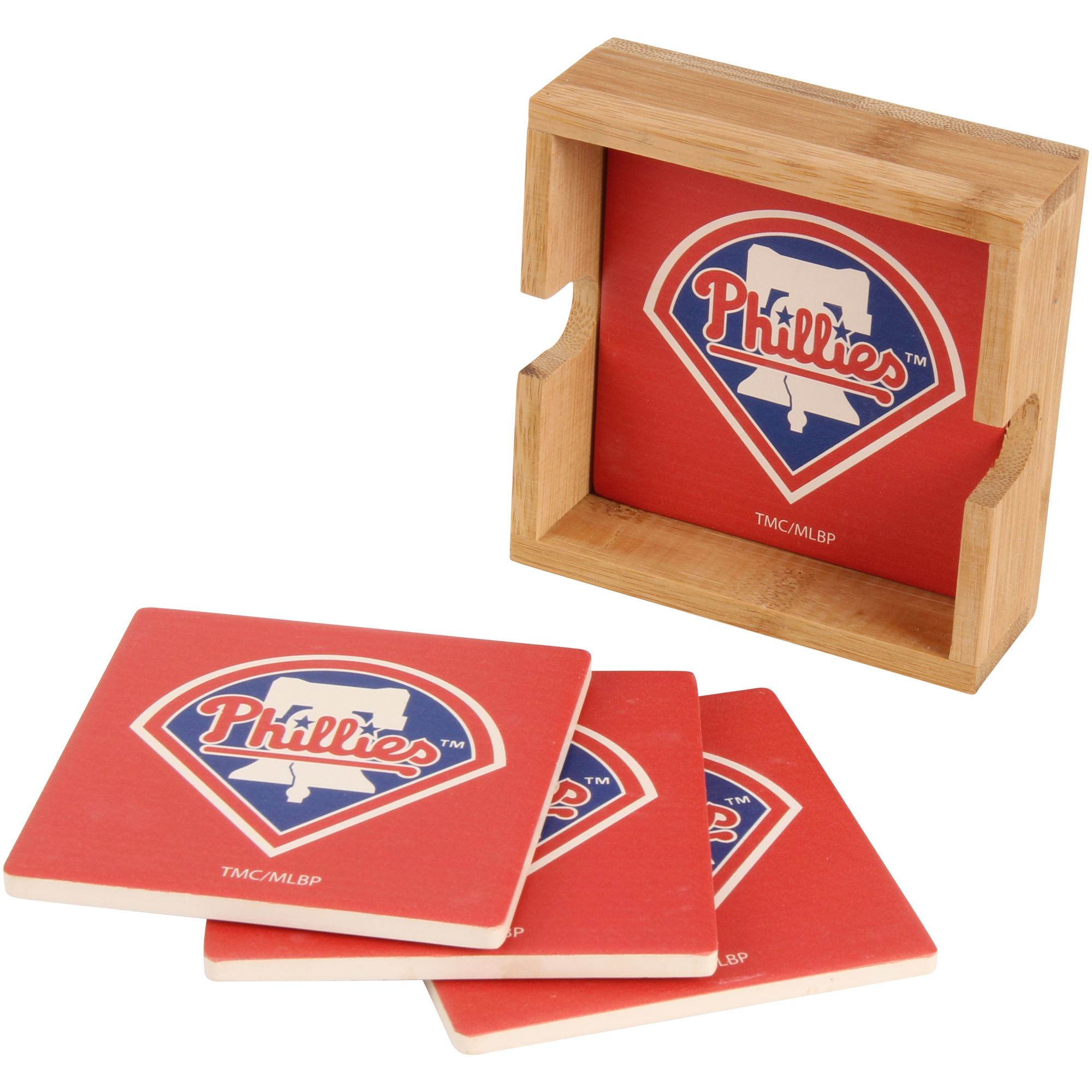 Philadelphia Phillies 4-Pack Square Coaster Set with Caddy - No Size