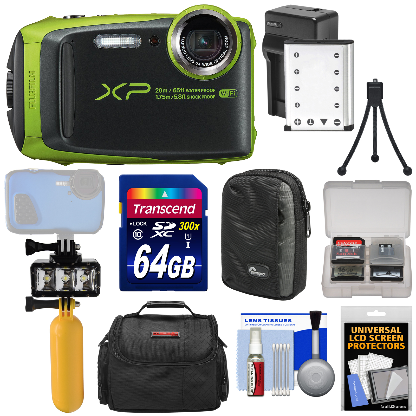 Fujifilm FinePix XP120 Shock & Waterproof Wi-Fi Digital Camera (Lime Green) + 64GB Card + Battery & Charger + Diving LED Video Light + Buoy + Cases Kit