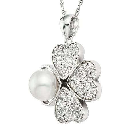 Collier pendentif en forme de coeur en forme de coeur en argent Sterling et perle (8 - 9 mm) en argent sterling Pearlyta - image 2 de 3