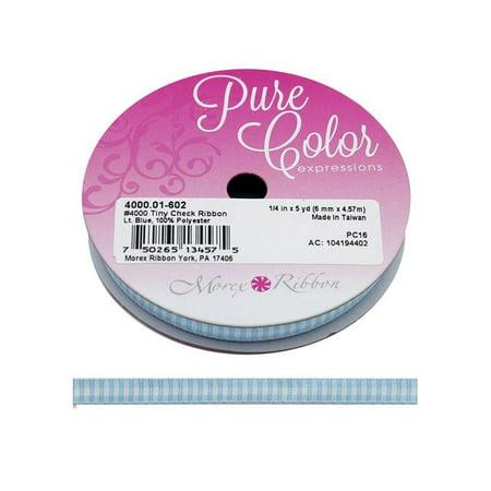"""Morex Ribbon Tiny Check 1/4""""x 5yd Lt Blue"""
