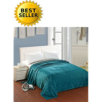 Elegant Comfort All Season Luxury Micro-Fleece Ultra-Plush Warm Leaf Pattern Jacquard Blanket, King/Cal King, Teal Blue/Turquoise