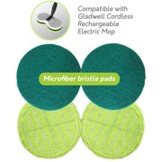Gladwell, Cordless Rechargeable Electric Mop Replacement Pads, Pack of 2 Cleaner, Light Green and 2 Scrubber Dark Green,  Pack of 2