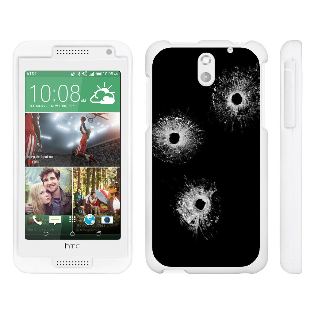 HTC Desire 610, [SNAP SHELL][White] Hard White Plastic Case with Non Slip Matte Coating with Custom Designs - Bullet Holes