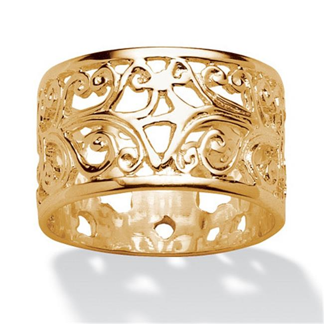 PalmBeach Jewelry 544367 Ornate Scroll Design Band in 18k Gold over Sterling Silver