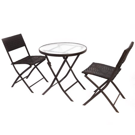 Costway patio furniture folding 3pc table chair set bistro for Table jardin beauty