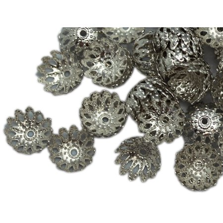 9x4mm Silver Metal Flower Dome Bead Cap (50 Piece) for $<!---->