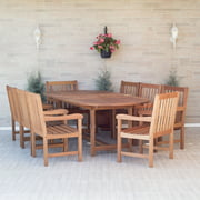 Amazonia Milano 9-Piece Oval Extendable Patio Dining Set | Eucalyptus Wood | Ideal for Outdoors and Indoors