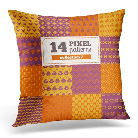 CMFUN Orange Candy of Pixel Patterns Halloween All were Added in Swatches Palette Pumpkin Pillow Case Pillow Cover 20x20 inch (Pixel Art De Halloween)