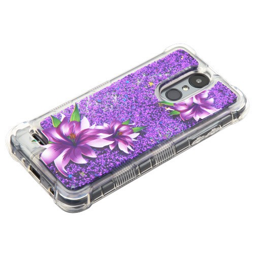 Purple Lilies/Purple Flowing Sparkles TUFF Quicksand Glitter Lite Hybrid Protector Cover (with Package) for LG X210 (Aristo 2) LG K8 (2018) LG Zone 4 LG Fortune 2 LG K8 PLUS (2018) LG Risio 3