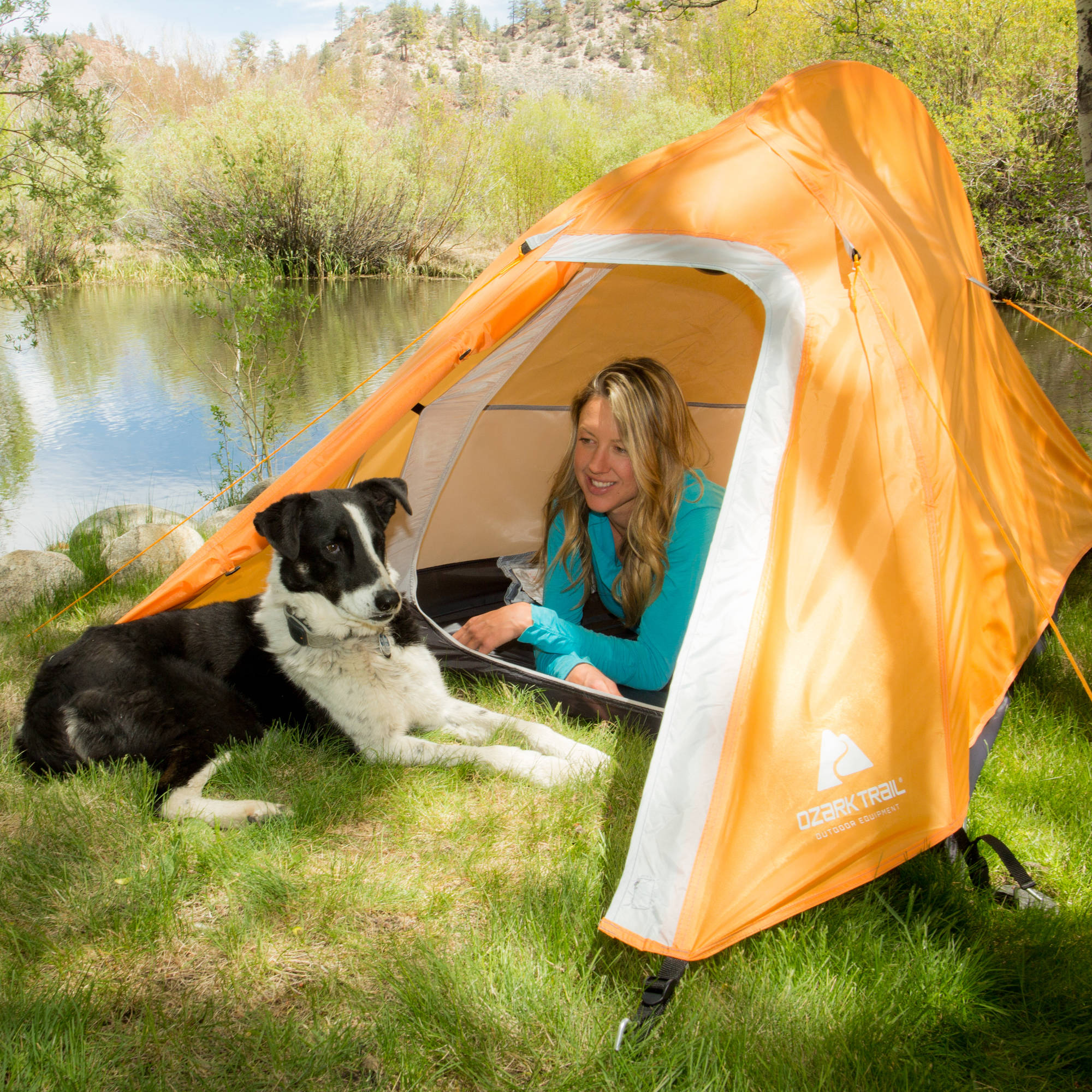 Ozark Trail Ultralight Back Packing 4u0027 x 7u0027 x 42  Tent with Full Fly Sleeps 1 Orange - Walmart.com & Ozark Trail Ultralight Back Packing 4u0027 x 7u0027 x 42