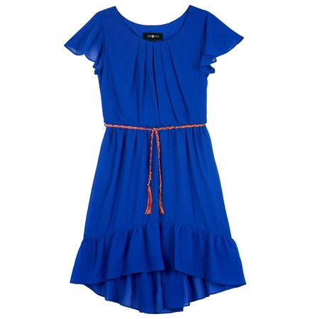 Flutter Sleeve Hi-Lo Dress with Belt (Big - Girls Dresses With Sleeves