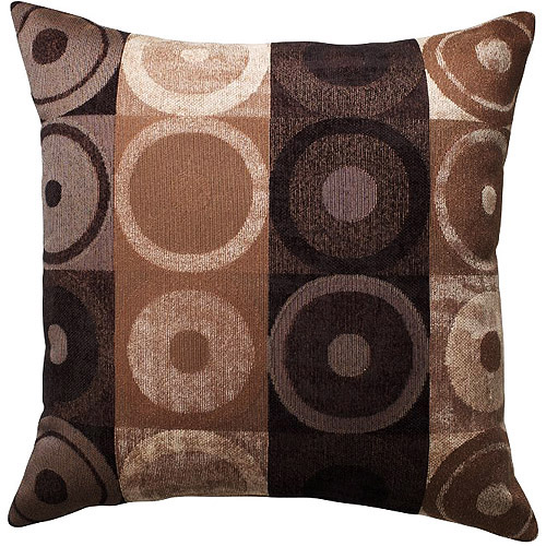 Better homes and gardens circles and squares decorative pillow brown