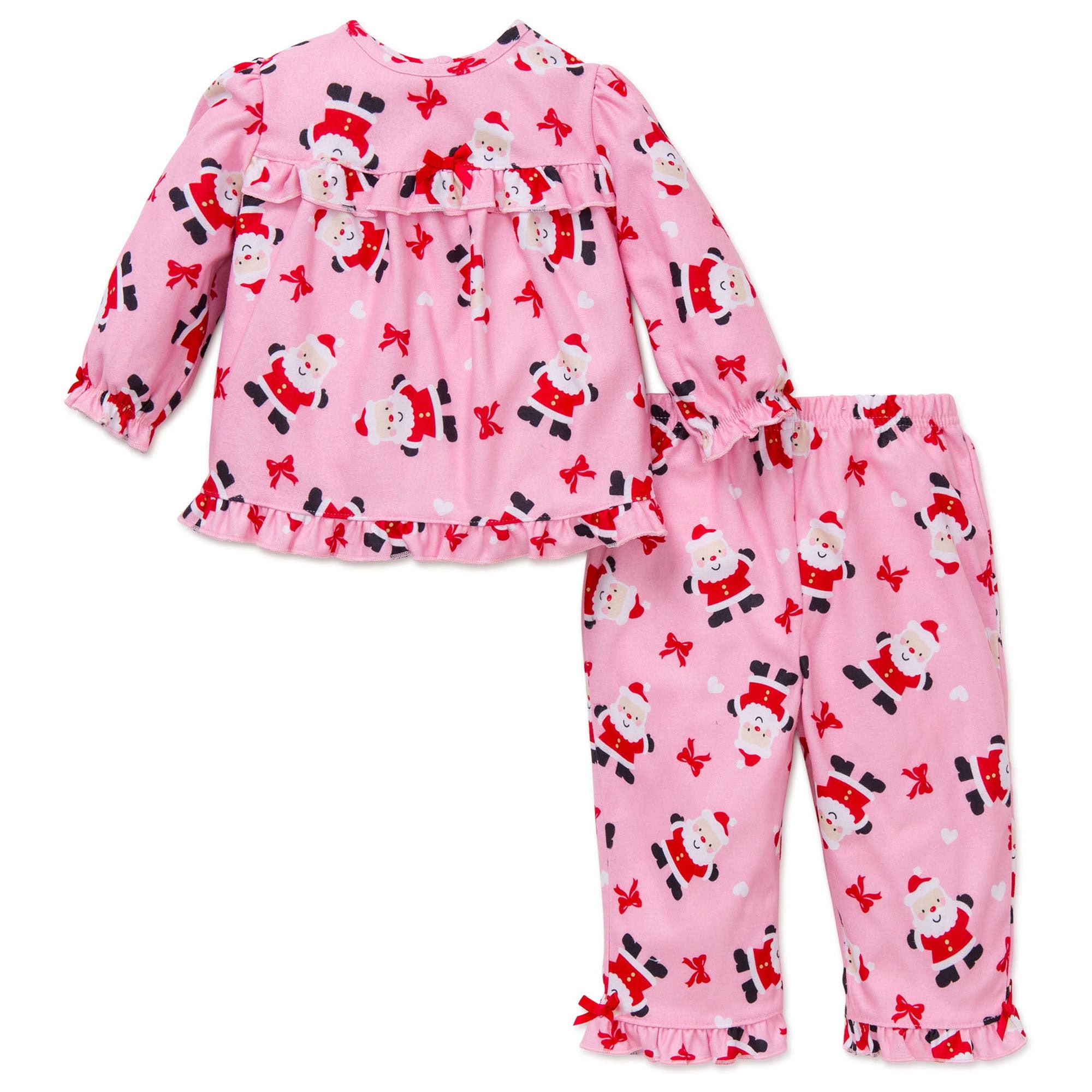 little girl 2pc little girls santa christmas holiday pajamas pink 18 months x mas walmartcom - Toddler Christmas Pajamas