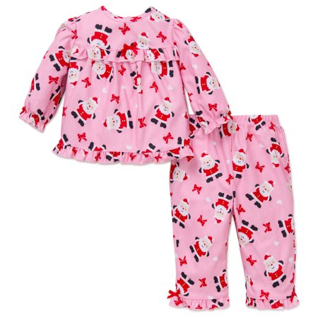 Me 2pc Little Girls Santa Christmas Holiday Pajamas Pink 18 Months ...