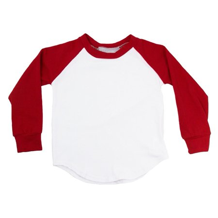 Unisex Little Kids Red Two Tone Long Sleeve Raglan Baseball T-Shirt](Rex Kid)