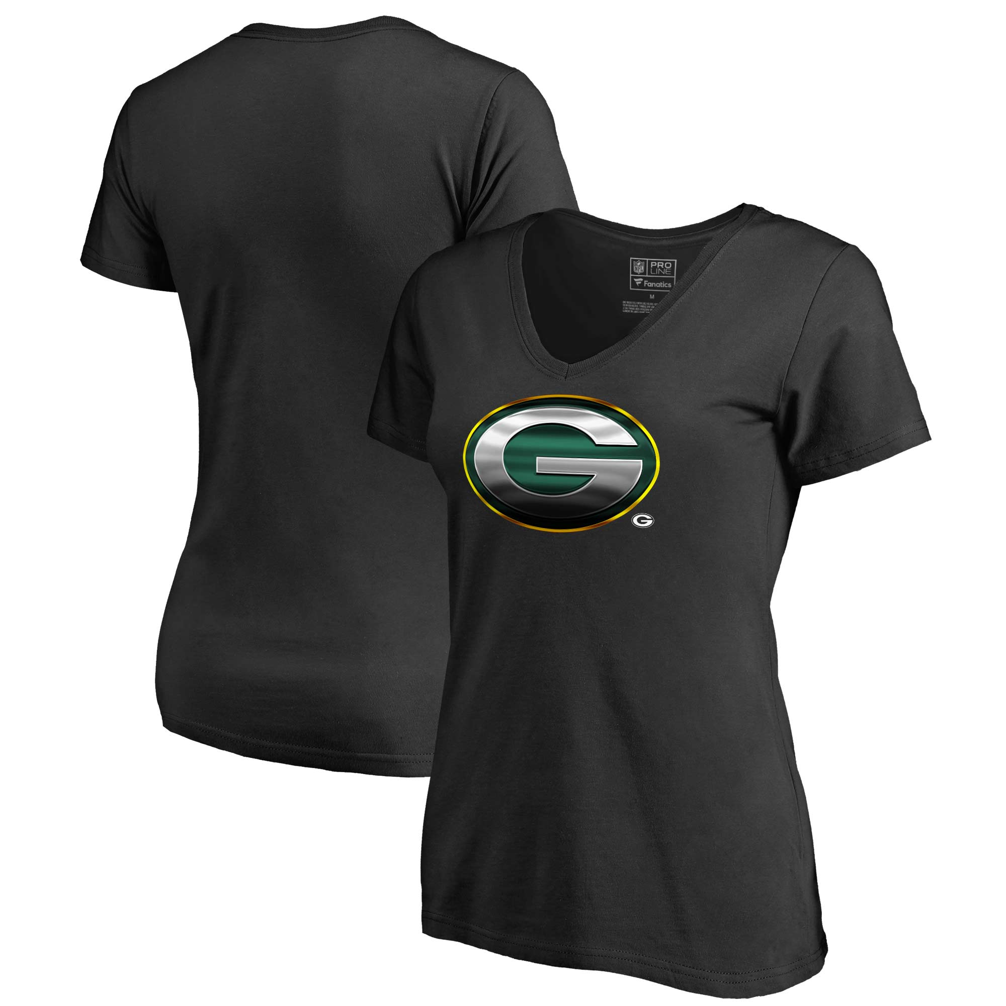 Green Bay Packers NFL Pro Line by Fanatics Branded Women's Primary Midnight Mascot V-Neck T-Shirt - Black