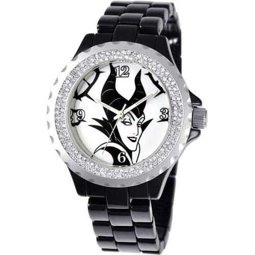 Disney Maleficent Women's Enamel Spark Watch, Black Bracelet