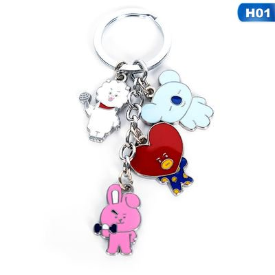 Fancyleo BTS Key Chain, Kpop Bangtan Boys Jungkook, Jimin, V, Suga, Jin, J-Hope, Rap Monster Cute Keychain Keyring for The (Best Boy Key Grip)