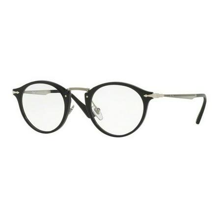 Persol Men's PO3167V 95 49 Round Metal Plastic Black Clear (See Through Eyeglass Frames)