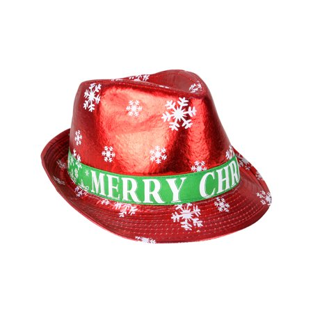 Adults Merry Christmas Winter Snowflake Red Fedora Hat Costume Accessory - Merry Halloween