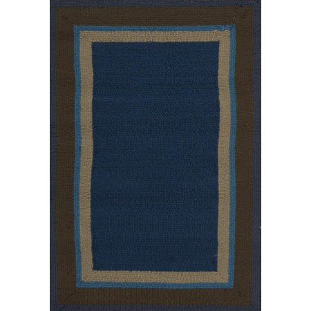 8 X 10 Bold Borders Navy Blue Brown And Tan Hand Hooked