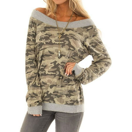 bd5e235a52f4ac LMart - LMart Women Casual Camouflage Long Sleeve T-Shirt Off Shoulder  Blouses - Walmart.com