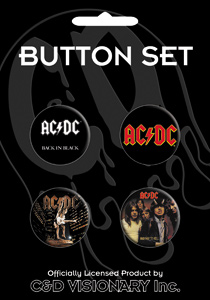 Button AC//DC Assorted Logo Set of 4 Pin Pack Toys New