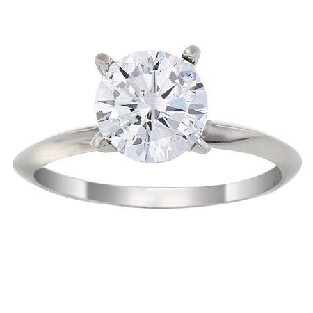 Half Bezel Solitaire (1/2 CT Diamond Solitaire Ring 14K Gold Size 7 )