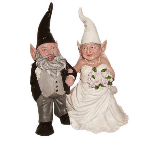 Homestyles Bride & Groom Wedding Gnome Married Couple Home & Garden Collectible Statue 8