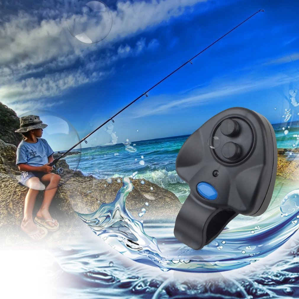 Electronic Fish Bite Sound Alarm LED Light Alert Bell Fishing Rod Clip-On with 3 x LR44 button battery