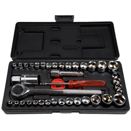 40 Piece Ratcheting Socket Wrench Set - Metric and Standard 6-Point Hex Socket Organizer Kit with Combination Torque and Insulated Handles by Stalwart