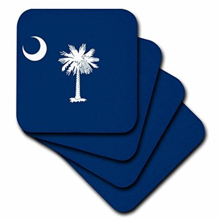 3Drose Flag Of South Carolina Sc   Us American United State Of America Usa White Palmetto Tree Indigo Blue  Ceramic Tile Coasters  Set Of 4