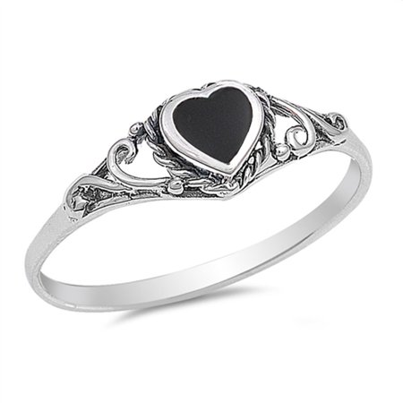 Faux Onyx Ring - CHOOSE YOUR COLOR Heart Simulated Black Onyx Promise Ring New .925 Sterling Silver Band