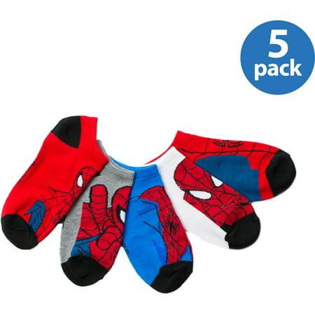 Marvel Spiderman Boys No Show Socks  5 Pack