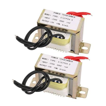 2pcs 220V Input to 12V 19W EI-57*24.5 Ferrite Core Power Transformer Converter