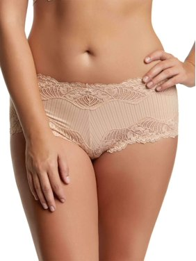 Paramour by Felina | Stripe Delight Hipster | Panty | Lace | Mid RIse (Fawn, Large)