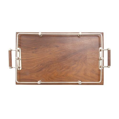 Cole & Grey Wood Stainless Steel Tray