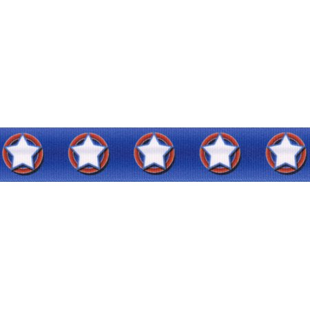 Country Brook Design® 5/8 Inch American Stars Grosgrain Ribbon, 5 Yards ()