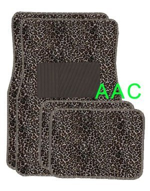 A Set of 4 Universal Fit Animal Print Carpet Floor Mats for Cars   Truck CHeetah by LavoHome