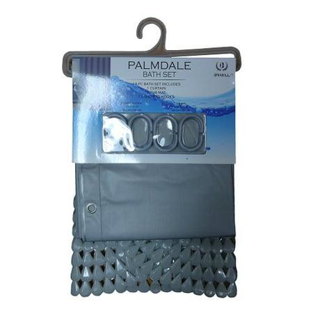 New 824829  Palmdale Shower Curtain 14Pc Grey (6-Pack) Bath Cheap Wholesale Discount Bulk Household Bath Sponge And Such (Cheap Showers)
