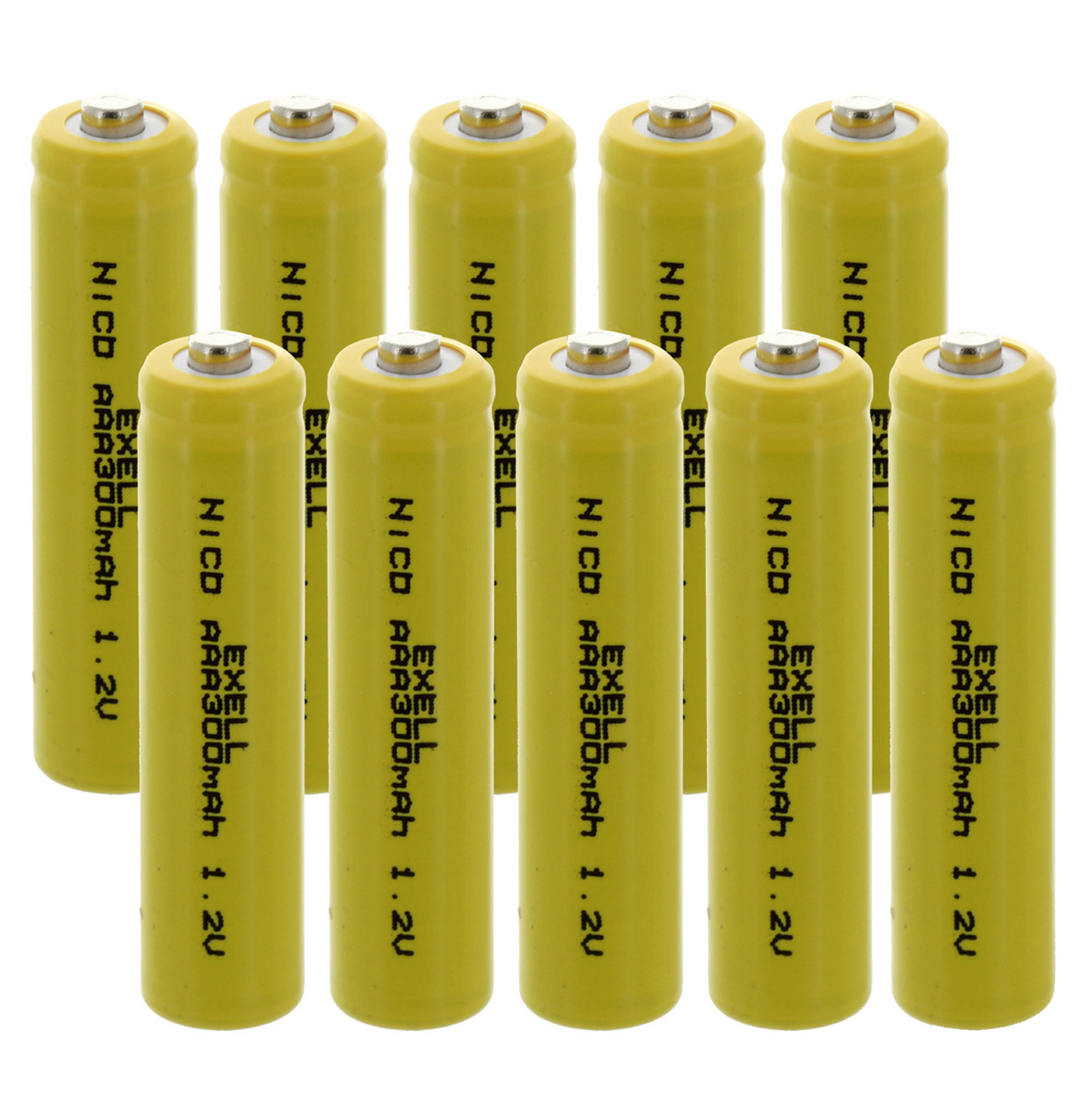 10x Exell AAA 1.2V 300mAh NiCD Button Top Rechargeable Batteries FAST USA SHIP
