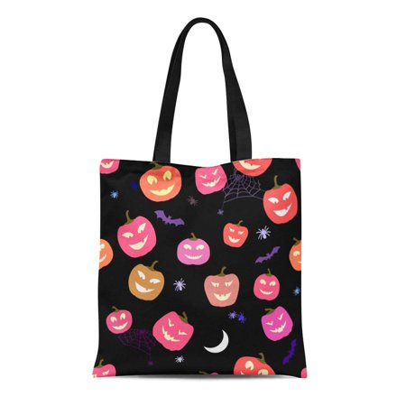 ASHLEIGH Canvas Tote Bag Pink Funny Cute Halloween Pattern Pumpkins and Spiders Horror Reusable Shoulder Grocery Shopping Bags Handbag - Halloween Purses And Handbags