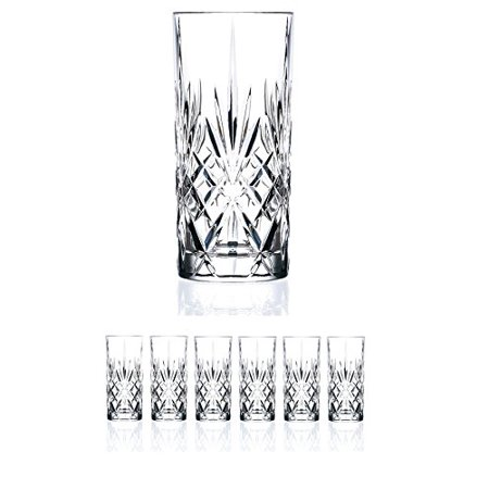 Set of 6 CRYSTAL HIGHBALL Durable Drinking glasses Limited Edition Glassware Drinkware Cups/coolers (11oz)