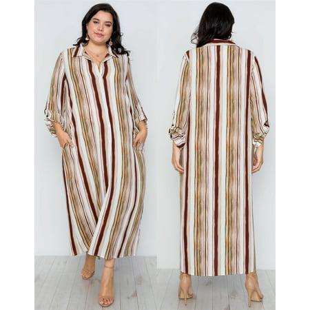 JED FASHION Women\'s Plus Size Stripes Long Sleeve Button Down Maxi Dress Top