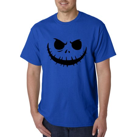 Trendy USA 971 - Unisex T-Shirt Jack Skellington Pumpkin Face Scary 4XL Royal Blue - Purple Pumpkin